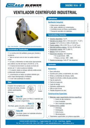 Catálogo de Ventiladores Centrífugos Radiales - D16A SW AM – D16A LS SW – D16A WF