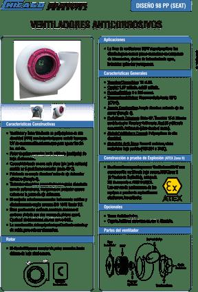 Catálogo - Ventilador Centrífugo de Polipropileno - Gases Corrosivos - D98 PP - SEAT